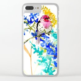 House Finch and Wildflowers Clear iPhone Case