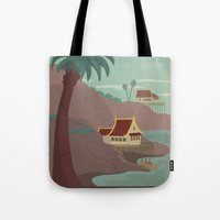travel poster Tote Bags featuring Ember Island Travel Poster by HenryConradTaylor