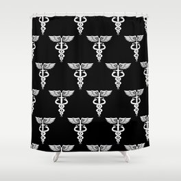 Caduceus medical symbol with two snakes sword and wings Shower Curtain