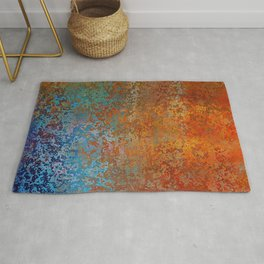Vintage Rust, Terracotta and Blue Rug