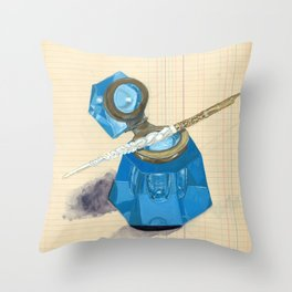 Blue Crystal Inkwell and Dip Pen in Gouache Throw Pillow