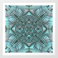 snowflake Art Prints featuring Snowflake by Lyle Hatch