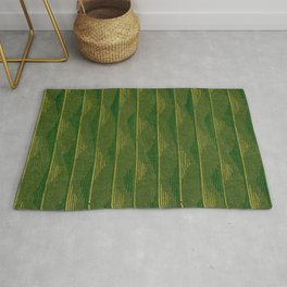 Green Soundwaves Japanese Shima-Shima Pattern Rug
