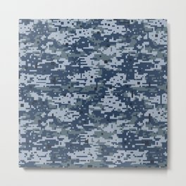 Navy Digital Camo Camouflage Digicam Pattern Military Uniform Metal Print