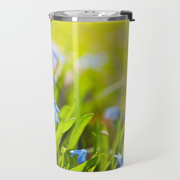 Scilla siberica flowerets named wood squill Travel Mug