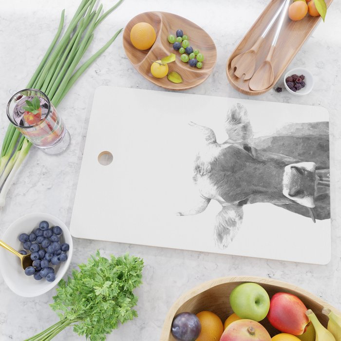Cow black and white animal portrait Cutting Board