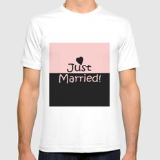 Just married! Pink White MEDIUM Mens Fitted Tee