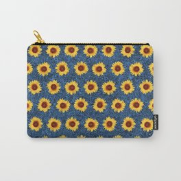 Sunflower Field - Blue Carry-All Pouch