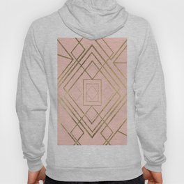 Modern coral faux leather faux gold geometrical pattern Hoody