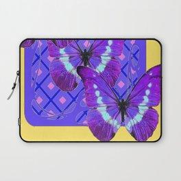 Three Purple Butterflies on Purple &Yellow Pattern Laptop Sleeve