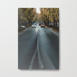 Cars on the streets of Subotica, Serbia // fall // autumn Metal Print