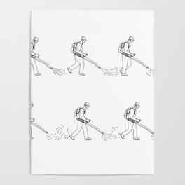 Gardener With Leaf Blower Walk Sequence Drawing Poster