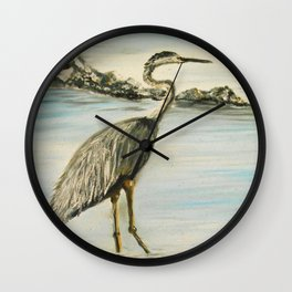 Great Blue Heron in Oil Wall Clock