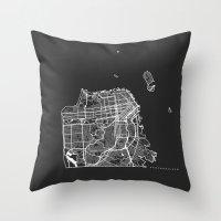 san francisco map Throw Pillows featuring SAN FRANCISCO by Nicksman
