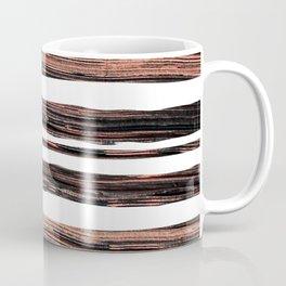 Chic elegant black rose gold paint brushstrokes stripes Coffee Mug