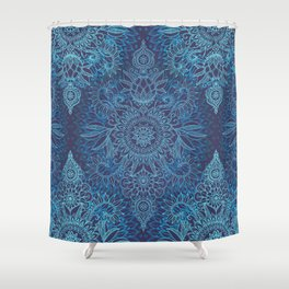 Aqua, Cobalt Blue & Purple Protea Doodle Pattern Shower Curtain