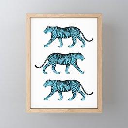 Tigers (White and Blue) Framed Mini Art Print