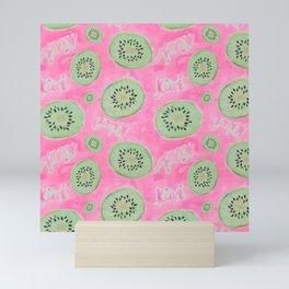 Watercolor Kiwi Slices in Neon Pink Punch Mini Art Print