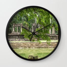Pool & Structure of Baphuon Temple I, Angkor Thom, Siem Reap, Cambodia Wall Clock