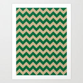 Tan Brown and Cadmium Green Horizontal Zigzags Art Print