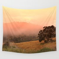 fog Wall Tapestries featuring Early Fog In The Hills by Donuts