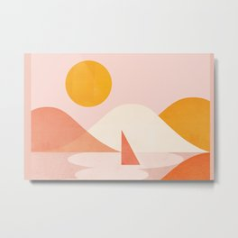 Abstraction_Lake_Sunset_Minimalism_001 Metal Print