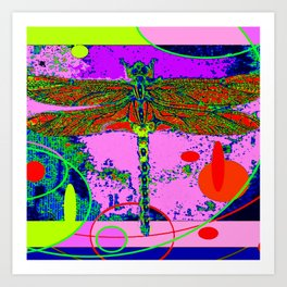 Green Swamp Dragonfly Purple abstract Art Print