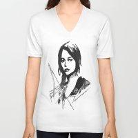 katniss V-neck T-shirts featuring Katniss Everdeen Digital Drawing by Fran Draws