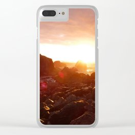 Big Sur's Rocky Shore Sunset Clear iPhone Case