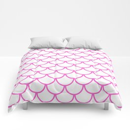 Pink Fish Scales Pattern Comforters