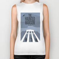 haunted mansion Biker Tanks featuring The Haunted Mansion by Minimalist Magic - Art by Tony Sherg