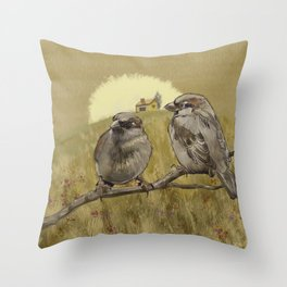 Sparrows at Sunrise Throw Pillow