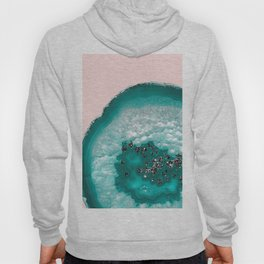 Turquoise Teal Agate with Black Glitter on Blush #1 #faux #glitter #gem #decor #art #society6 Hoody