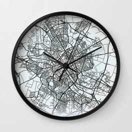 Reims, France, White, City, Map Wall Clock