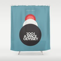 2001 Shower Curtains featuring 2001 a Space Odyssey - Stanley Kubrick Movie Poster by Stefanoreves