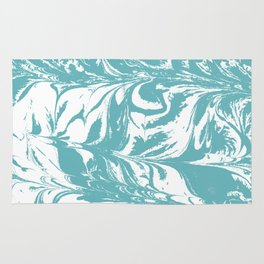 Japanese paper marbling suminiagashi pastel turquoise light blue ocean topography swirl marble Rug
