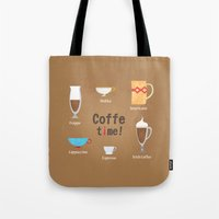 coffe Tote Bags featuring Coffe Time! by Olga  Varlamova