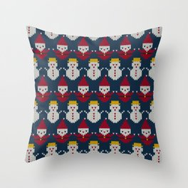 Santa Claus with Snowman Throw Pillow