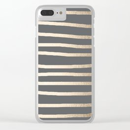 Simply Drawn Stripes White Gold Sands on Storm Gray Clear iPhone Case