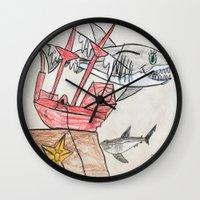 nursery Wall Clocks featuring Shark Nursery by Ryan van Gogh