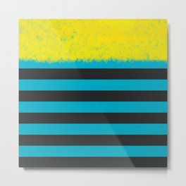 Blue and Charcoal Stripes with Yellow Metal Print