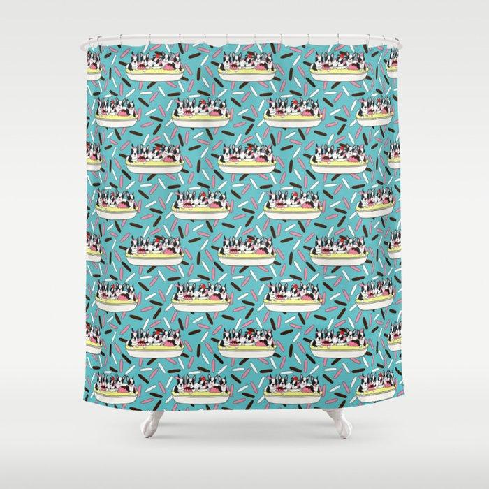 Banana Split Bostons On Sprinkles Shower Curtain By Craftyk9 Society6