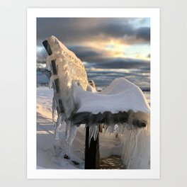 Lake Michigan Ice Bench Art Print