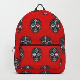 Día de Muertos Calavera • Mexican Sugar Skull – Black & Turquoise on Red Starburst Backpack