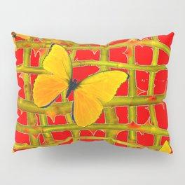 YELLOW BUTTERFLIES & RED THORN LATTICE Pillow Sham
