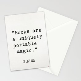 """""""Books are a uniquely portable magic."""" Stationery Cards"""