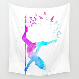 watercolor pole dance  Wall Tapestry