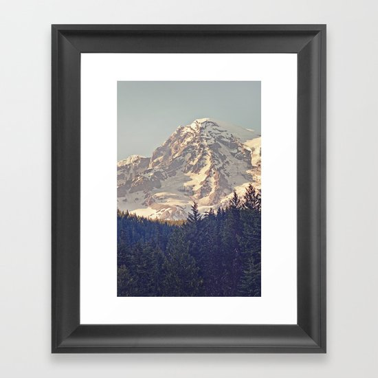 Mount Rainier Retro Framed Art Print