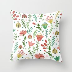 Floral pattern with ladybugs Throw Pillow