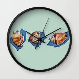 Three Seashells in Green Wall Clock